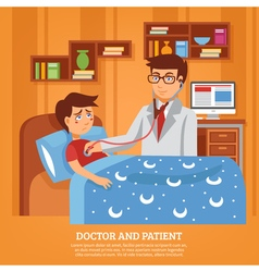 Doctor Attending Patient Home Flat vector