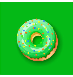 Donut icing green upper latters - o font donuts vector