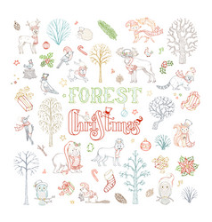 doodles forest christmas set vector image