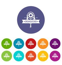 Dreamcatcher icons set color vector