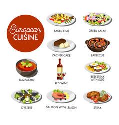 european cuisine menu vector image