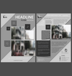 flyer template with diagonal gray stripes vector image