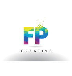 Fp f p colorful letter origami triangles design vector