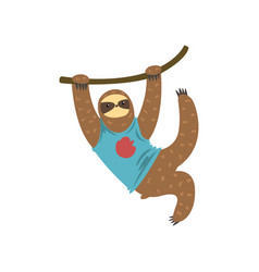 funny sloth hanging on the liana lazy exotic vector image