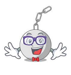 Geek wrecking ball hanging from chain cartoon vector