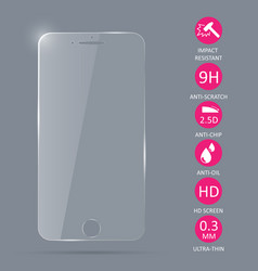 Glass screen protector for smartphone vector