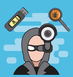Hacker and cyber security vector