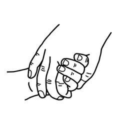 hand of a child and mother holding vector image