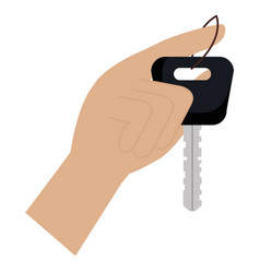 hand with car key isolated icon vector image