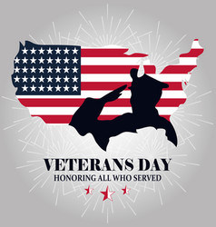 Happy veterans day silhouette soldier on map with vector