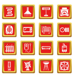 heat cool air flow tools icons set red square vector image
