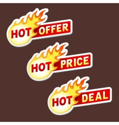 Hot offer price and deal flame sticker badges vector image