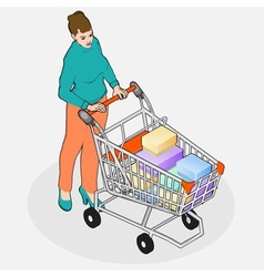 Isometric Grocery Shopping - Walking Woman with vector