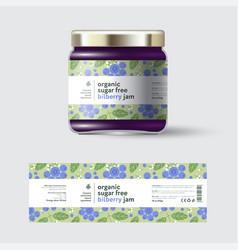 Jam bilberry label packaging jar sugar free vector