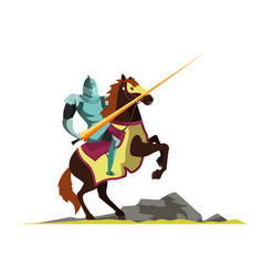 Knight attacking on horseback vector