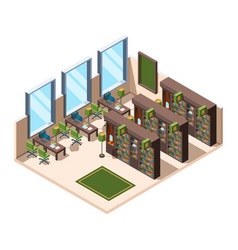 library interior university school room with vector image