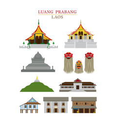 Luang prabang laos landmarks objects vector