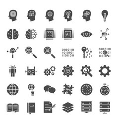 machine learning solid web icons vector image