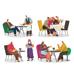 man and woman in coffeehouse public place vector image