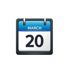 March 20 Calendar icon flat vector image