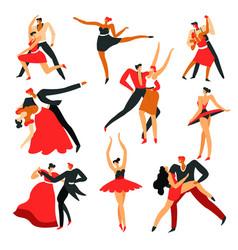 men and women dancing ballroom and latin american vector image