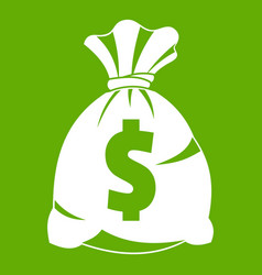 money bag with us dollar sign icon green vector image