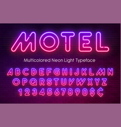 Neon light alphabet multicolored extra glowing vector