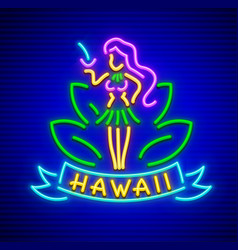 neon sign with girl of hawaii vector image