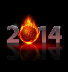 new year 2014 metal numerals with fire ball vector image