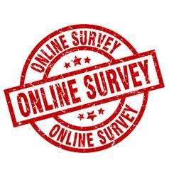 Online survey round red grunge stamp vector