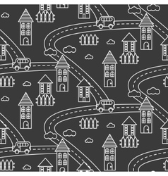 Outline village seamless pattern vector