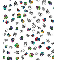 Owls hand drawn pattern vector