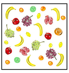 pattern a set fresh fruits isolated vegan vector image