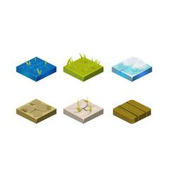 platforms different ground textures set water vector image
