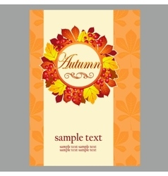 Poster in yellow colors with autumn leaves vector image