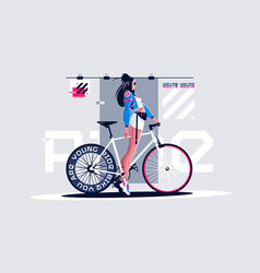 Pretty girl on roadbike vector