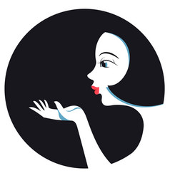 pretty girl sends an air kiss vector image