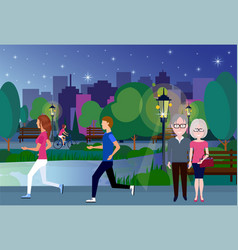 Public night park woman man couple wooden bench vector