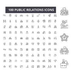 Public relations editable line icons 100 vector