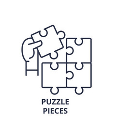 puzzle pieces line icon concept puzzle pieces vector image