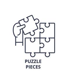 puzzle pieces line icon concept puzzle pieces vector image