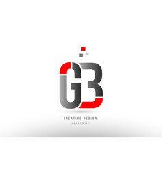 Red grey alphabet letter gb g b logo combination vector