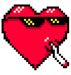 Red heart with meme glasses and joint thug life vector