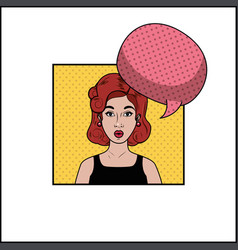 redhead woman with speech bubble pop art style vector image