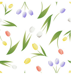 seamless pattern tulip flowers and leaves on vector image
