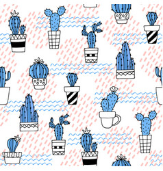 seamless pattern with cute cactus and hand drawn vector image