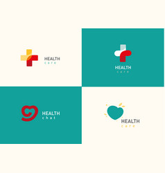 Set bright logo on medicine and health cross vector