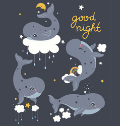 set cute whales in sky graphics vector image