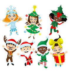 set with children in christmas costumes vector image