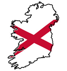 simplified map of ireland whole island including vector image